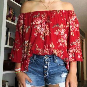 Ralph Lauren Denim & Supply Red Flower Blouse